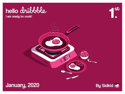 Hello Dribble! vector illustration egg cake cook design isometric illustration dribble shot illustration art illustation