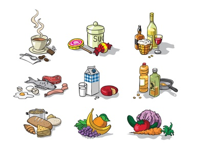 Groceries Illustrated icons