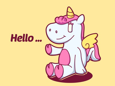 Hi ... pegasus unicorn fantasy vector funny character cute illustration