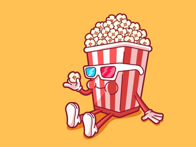 Sundays Mood relax food sunday mood 3d glasses cinema movies pop corn vector funny cute character illustration