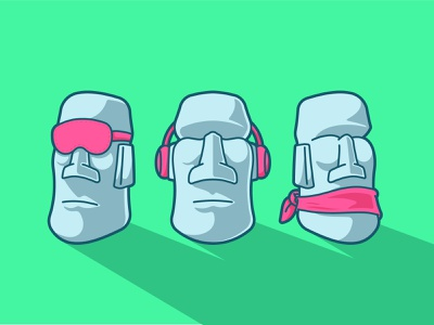 three wise moai speak heart see no evil vector cute character illustration wise three 3 three wise monkey totem moai