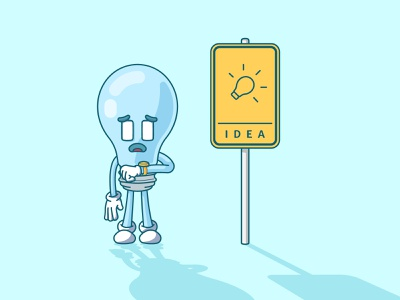 waiting for some ideas funny vector character cute illustration bus stop light lightbulb waiting brainstorming idea
