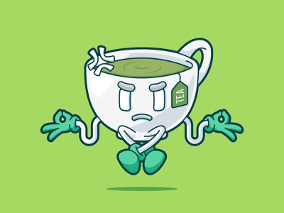 distracted tea funny vector character cute illustration distracted distraction diet healthy herbal green tea tea