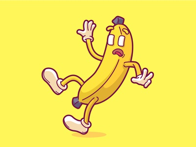 Slipped Banana cartoon fruit funny vector character cute illustration fall slipped slippery slip banana