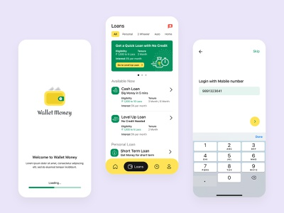 Wallet Money App mobile banking minimal design app illustraion flat ui ux design banking loans logo design design art photoshop app splash login signup android iphone figma
