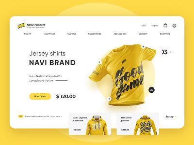 Natuse Vincere - Merch Shop gg top new jersey yellow shirt 2020 trend concept clean desktop interface branding logo website ui design popular shop merch navi