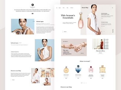 Beauty Blog shop jewellery best blog parfum woman beauty chanel webdesign minimalism web clean desktop popular ux design concept website ui