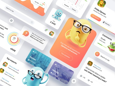 Social Platform components components kawaii uidesign network social monster bubble platform question answers qwiz children kids desktop ux popular design concept website ui