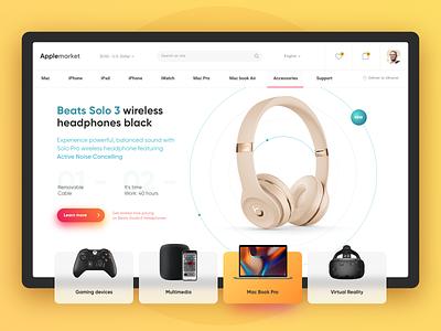 Apple Market Concept mac product headphone layout clean minimalism dribbble dream digital website web ux uidesign ui shot minimal adobe xd figma design apple