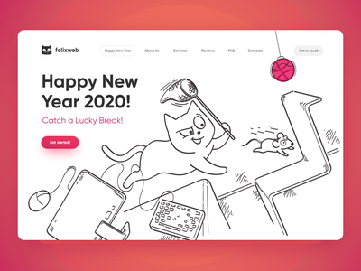 Get started 2020 lucky cat desktop illustrator vector design website landing concept first design popular ui mouse cat rat pink clean 2020 new year dribbble