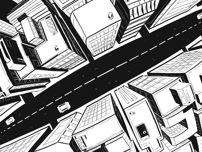 New Perspective fisheye rooftop urban ipadproart vector illustration city illustration buildings cityscape vector design illustration blacknwhite