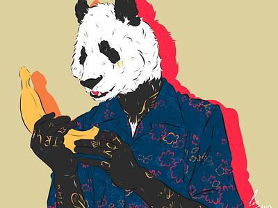 Romeo Panda color digital painting digital art fun art movie art character design panda bear panda illustration