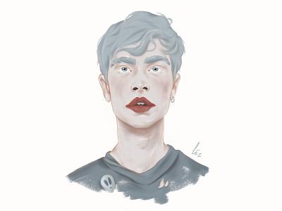 Face 2018 portfolio portrait art design digital painting digital art procreate blue people guy portrait illustration