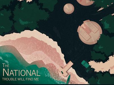 The National Poster buildings band art band poster nature illustration overview forest the national scenery adobe illustrator vector illustration vector digital art design illustration
