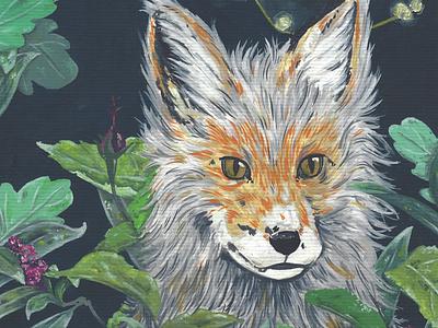 Fox christmas christmas card nature illustration design closeup gouache fox painting character design design illustration