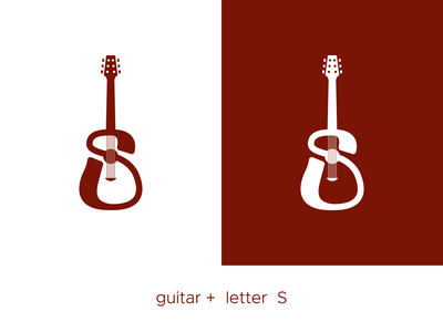 guitar S logo minimal geometric clear clean music guitar brand designs illustration icon branding design vector logo modern