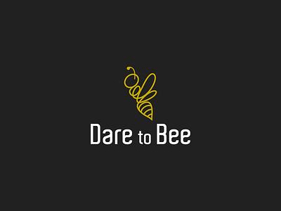 Dare to Bee logo bee icon line art minimal animal branding vector design symbol modern logo