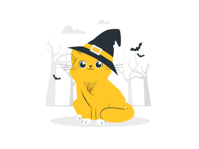 Cat with witch hat illustrator design icon figma branding vector figmadesign illustration design hero