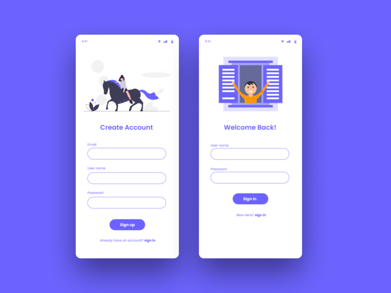 Daily UI - 001 Signup Signin figmadesign ui designers ui design mobile app dailyui 001 sign up page login page signin sign up