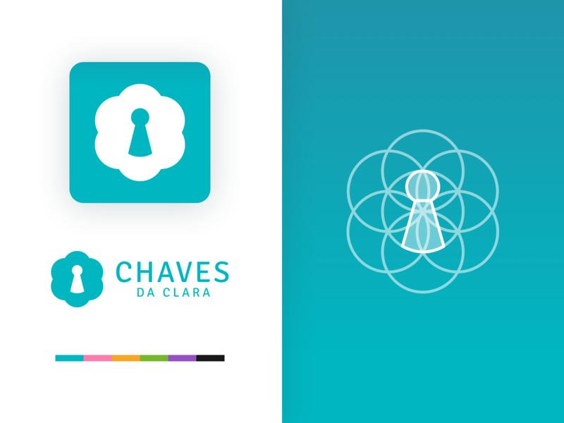 Chaves Da Clara - Logo Concept key hole flower logo flower key logo concepts grid grid layout grid logo icon app flat typography web branding logo icon vector design app