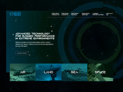 BEI Precision - Military & Space Technology Website UI style tile green blue stars company website motion encoder animation space military arkansas