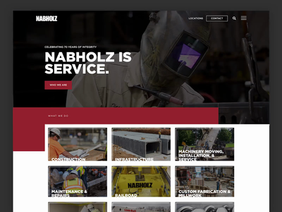 Nabholz Construction Website wordpress square ux ui typography company construction project web services portfolio safety hero red website arkansas