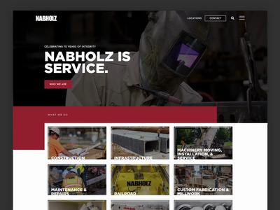 Nabholz Construction Website wordpress square ux ui typography company construction project web services portfolio safety hero red website arkansas