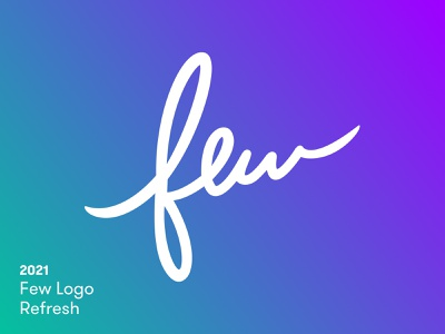 Few Logo Refresh logo design green before and after purple script mark clean refresh rebrand gradient logo brand logotype