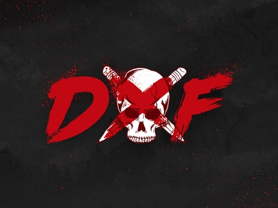 Designed By Few Logo grunge splatter neo noire blood crossbone skull made by few competition design mark logo conference