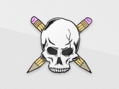 Designed By Few Pin Mockup pencil crossbones skull mockup pin enamel made by few competition design