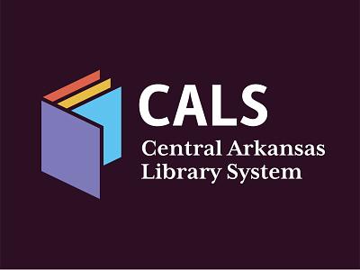 Central Arkansas Library System Logo Concept shirt library card logo 2d brand littlerock arkansas library library system central arkansas cals logo book