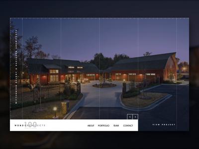 WD&D Architects projects lines grid ui hero showcase portfolio firm web website architect landing minimal modern arkansas little rock home page slider animation