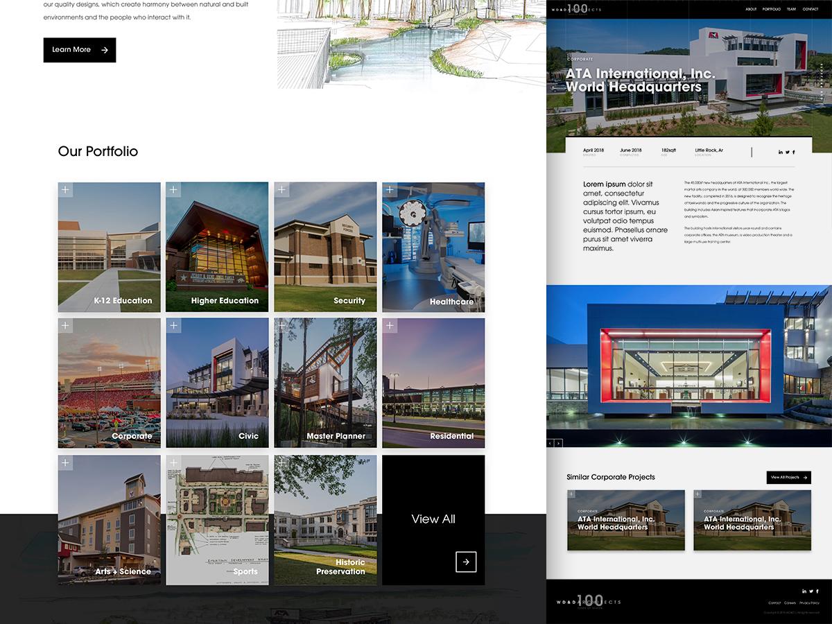 WD&D Architects Website arkansas little rock projects modern showcase portfolio ui website buildings avant garde black  white grid firm architect