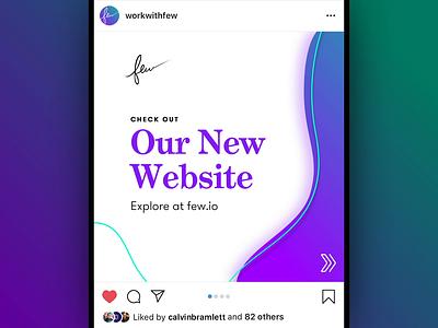 Few - Instagram Website Promo marketing redesign green purple gradient blob branding website seamless teaser after effects new website swipe animation drag slide instagram