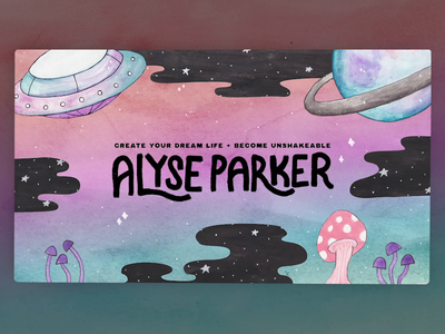 Alyse Parker Youtube Intro purple pastel stars watercolor mushroom spaceship alien after effects animation video intro youtuber raw alignment alyse parker