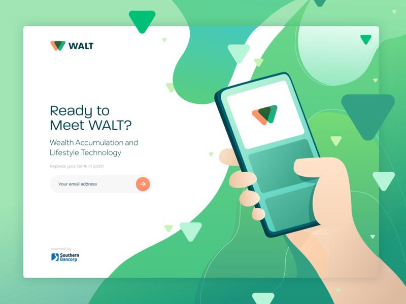 WALT - Virtual Banking Assistant - Landing Page triangle arkansas banking virtual assistant gradient newsletter signup minimal orange singlepage home landing phone blob wave green