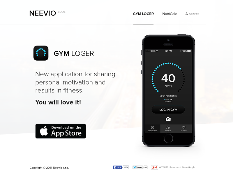 Landing page for fitness apps app apps ios iphone website web fitness log