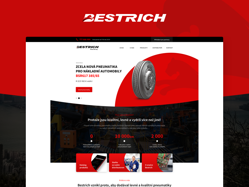 Bestrich Company presentation tires wheels red black creative design homepage web website web design