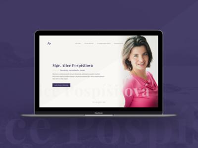 Mgr. Alice Pospíšilová - Memory coach website web redesign presentation personal minimalistic homepage design creative coach behance