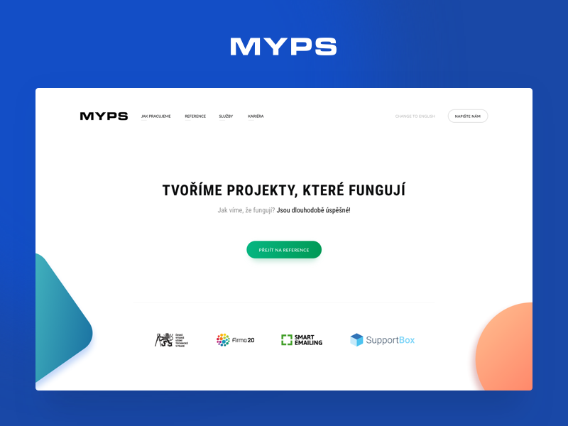 Myps.cz website portfolio agency development gradient design web webdesign redesign homepage