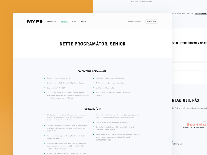 Myps - Career Detail agency design development gradient portfolio redesign web webdesign career