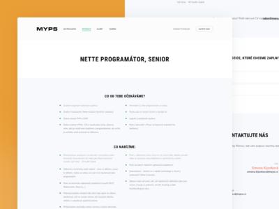 Myps - Career Detail agency design development gradient portfolio redesign web webdesign career