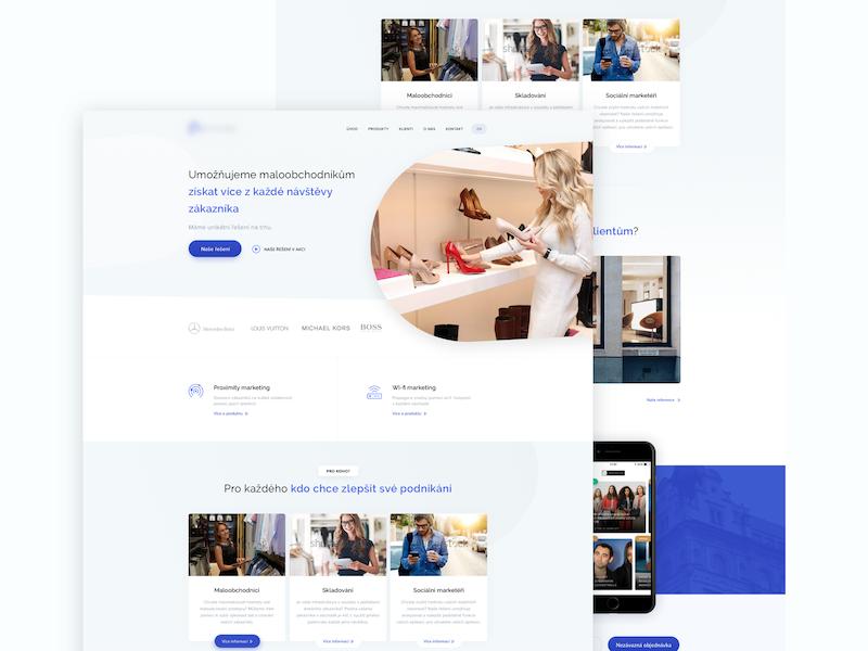 Proximity marketing Template concept template sketch design ux ui blue desktop webdesign website web homepage