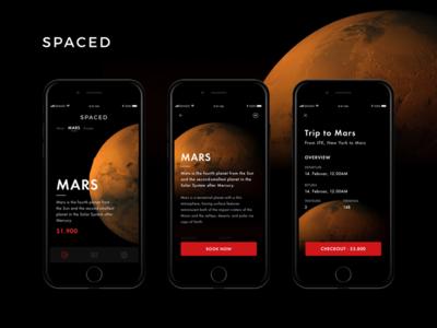 SPACED app by Jakubko spacedchallenge ios app booking dark design travel ui space black red mars