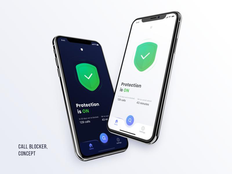 Call blocker, Home Screen sketch white iphone ios subscription design ux ui mobile minimal dark clean app