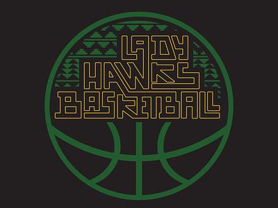 Lady Hawks Basketball Logo design typography lettering logo indigenous native american native women basketball basketball logo