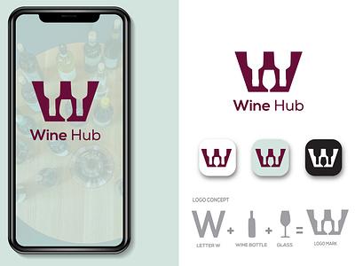 WINE HUB LOGO design vector art brand logo graphic design branding logo wine bottle wine glass logo wine logo vector wine logo ideas wine logo design w letter logo wine logo wine hub logo