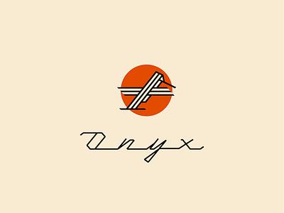Onyx vintage retro minimalist sun lettering monoweight hummingbird onyx identity logo