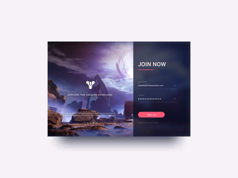 Daily UI 001 - Sign Up (2.0) dailyui 001 videogames destiny 2 signup modal ui dailyui