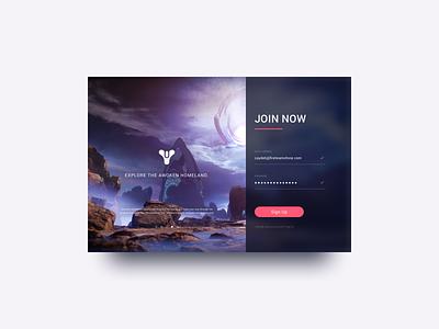 Daily UI 001 - Sign Up (2.0) dailyui 001 videogames destiny 2 signup modal ui dailyui